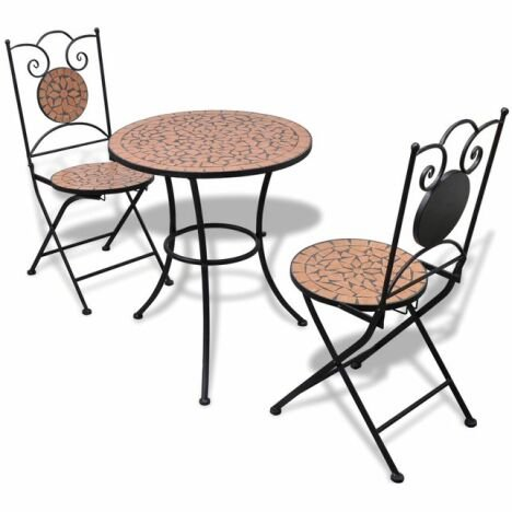 Set mobilier bistro, 3 piese, rosu teracota,